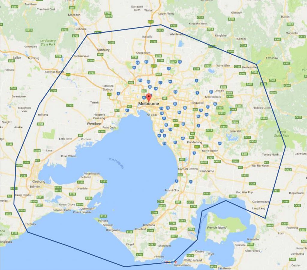 Melbourne Area Map